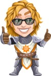 Blonde Prince with Armor Cartoon Vector Character AKA Edgar Medieval - Sunglasses