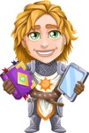 Blonde Prince with Armor Cartoon Vector Character AKA Edgar Medieval - Book and tablet
