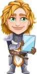 Blonde Prince with Armor Cartoon Vector Character AKA Edgar Medieval - Tablet