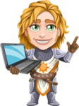 Blonde Prince with Armor Cartoon Vector Character AKA Edgar Medieval - Laptop