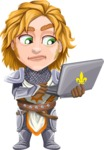 Blonde Prince with Armor Cartoon Vector Character AKA Edgar Medieval - Laptop 2