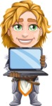 Blonde Prince with Armor Cartoon Vector Character AKA Edgar Medieval - Laptop 3