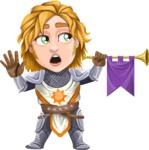 Blonde Prince with Armor Cartoon Vector Character AKA Edgar Medieval - Trumpet