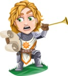 Blonde Prince with Armor Cartoon Vector Character AKA Edgar Medieval - Announcement