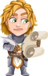 Blonde Prince with Armor Cartoon Vector Character AKA Edgar Medieval - Letter 2