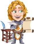 Blonde Prince with Armor Cartoon Vector Character AKA Edgar Medieval - Letter 3