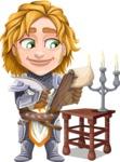 Blonde Prince with Armor Cartoon Vector Character AKA Edgar Medieval - Clipboard