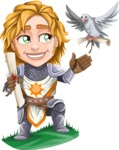 Blonde Prince with Armor Cartoon Vector Character AKA Edgar Medieval - Letter 4