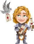 Blonde Prince with Armor Cartoon Vector Character AKA Edgar Medieval - Letter 5