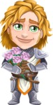 Blonde Prince with Armor Cartoon Vector Character AKA Edgar Medieval - Roses