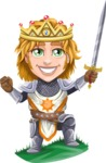 Blonde Prince with Armor Cartoon Vector Character AKA Edgar Medieval - Champion