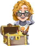 Blonde Prince with Armor Cartoon Vector Character AKA Edgar Medieval - Treasure chest 1