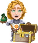 Blonde Prince with Armor Cartoon Vector Character AKA Edgar Medieval - Treasure chest 2