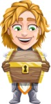 Blonde Prince with Armor Cartoon Vector Character AKA Edgar Medieval - Treasure chest 3