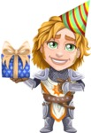 Blonde Prince with Armor Cartoon Vector Character AKA Edgar Medieval - Gift