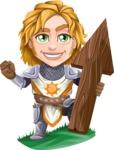Blonde Prince with Armor Cartoon Vector Character AKA Edgar Medieval - Arrow 1