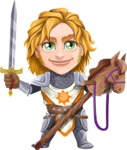 Blonde Prince with Armor Cartoon Vector Character AKA Edgar Medieval - Horse rider