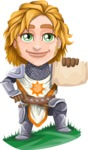 Blonde Prince with Armor Cartoon Vector Character AKA Edgar Medieval - Sign 1