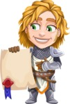 Blonde Prince with Armor Cartoon Vector Character AKA Edgar Medieval - Sign 2