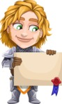 Blonde Prince with Armor Cartoon Vector Character AKA Edgar Medieval - Sign 3
