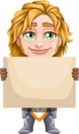 Blonde Prince with Armor Cartoon Vector Character AKA Edgar Medieval - Sign 4
