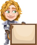 Blonde Prince with Armor Cartoon Vector Character AKA Edgar Medieval - Sign 5