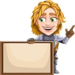 Blonde Prince with Armor Cartoon Vector Character AKA Edgar Medieval - Sign 6