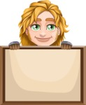 Blonde Prince with Armor Cartoon Vector Character AKA Edgar Medieval - Sign 7
