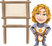 Blonde Prince with Armor Cartoon Vector Character AKA Edgar Medieval - Sign 8