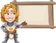 Blonde Prince with Armor Cartoon Vector Character AKA Edgar Medieval - Presentation
