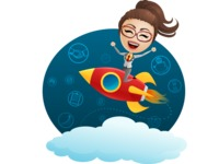 Business Woman on a Rocket