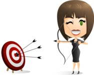 Woman Aiming at a Business Target