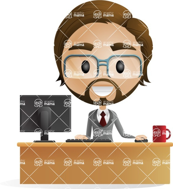 Business vector corporate-inspired graphic pack from GraphicMama, designed in a gradient flat style - Man at Office Desk