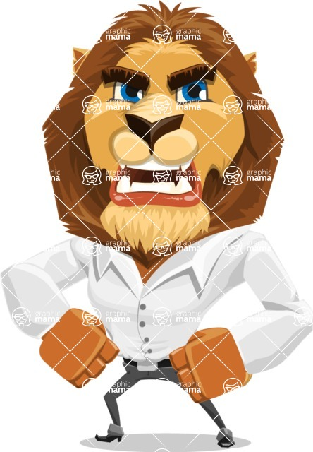Business Lion Vector Cartoon Character AKA Lionello - Angry