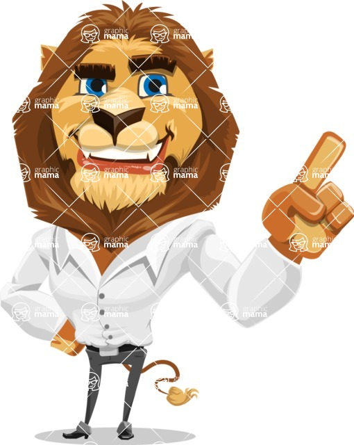 Business Lion Vector Cartoon Character AKA Lionello - Attention