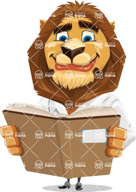 Business Lion Vector Cartoon Character AKA Lionello - Book 1