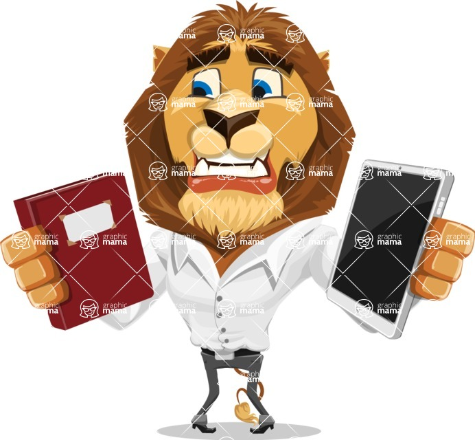 Business Lion Vector Cartoon Character AKA Lionello - Book and iPad