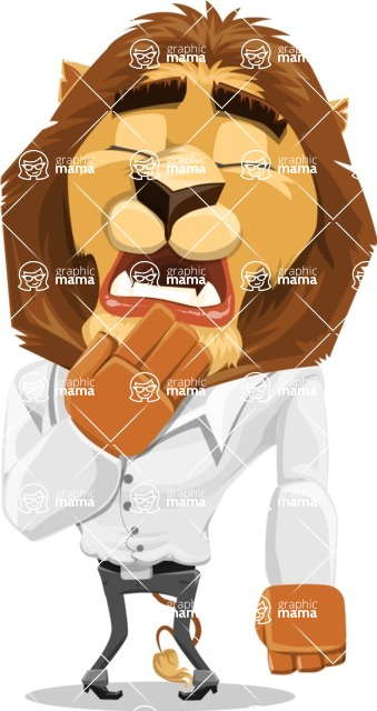 Business Lion Vector Cartoon Character AKA Lionello - Bored