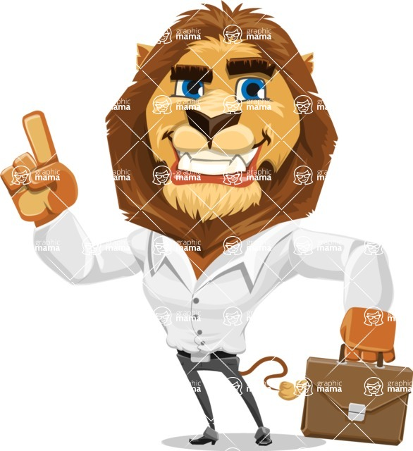 Business Lion Vector Cartoon Character AKA Lionello - Briefcase 2
