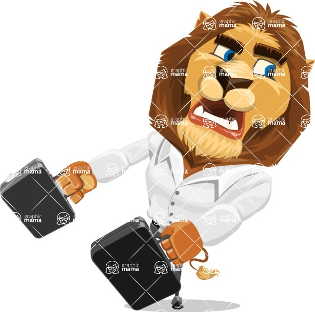 Business Lion Vector Cartoon Character AKA Lionello - Briefcase 3