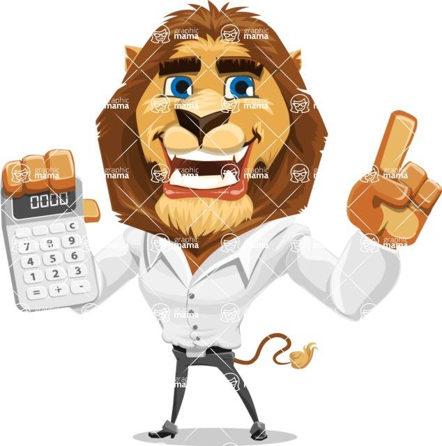 Business Lion Vector Cartoon Character AKA Lionello - Calculator