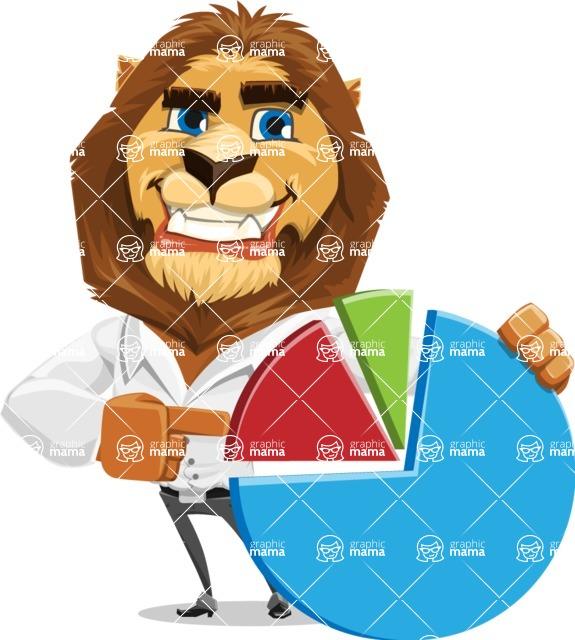 Business Lion Vector Cartoon Character AKA Lionello - Chart