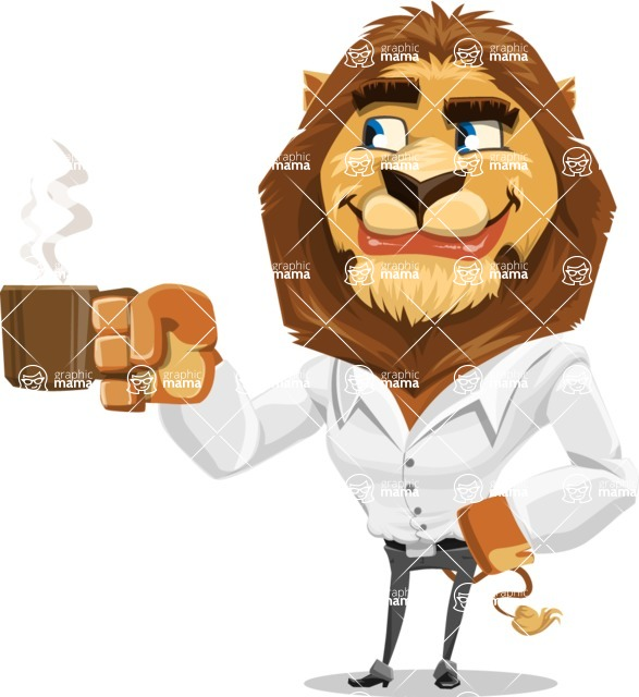 Business Lion Vector Cartoon Character AKA Lionello - Coffee