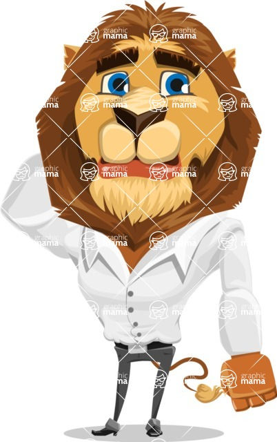 Business Lion Vector Cartoon Character AKA Lionello - Confused