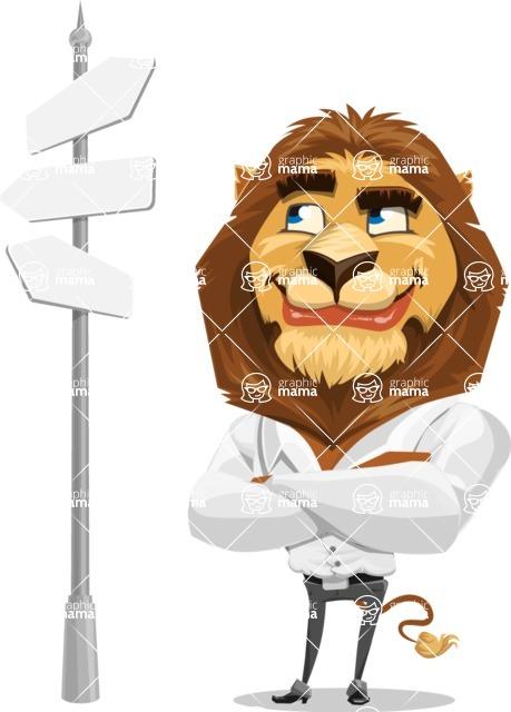 Business Lion Vector Cartoon Character AKA Lionello - Crossroad
