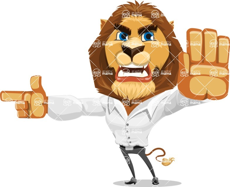 Business Lion Vector Cartoon Character AKA Lionello - Direct Attention