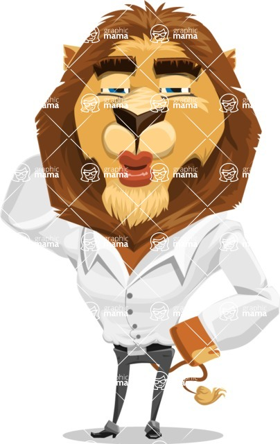 Business Lion Vector Cartoon Character AKA Lionello - Duckface