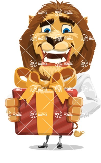 Business Lion Vector Cartoon Character AKA Lionello - Gift