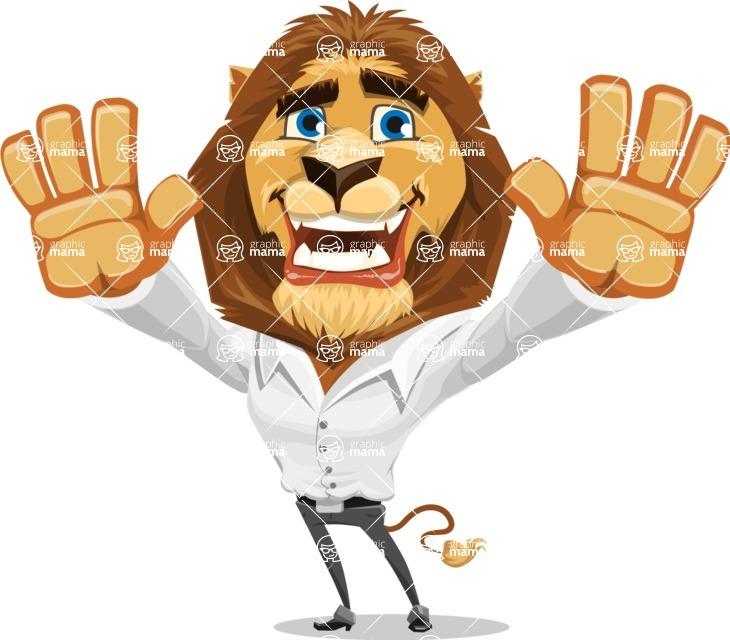 Business Lion Vector Cartoon Character AKA Lionello - Hello