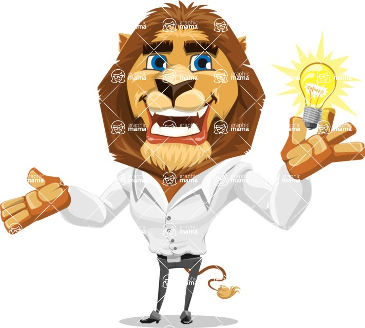 Business Lion Vector Cartoon Character AKA Lionello - Idea 1